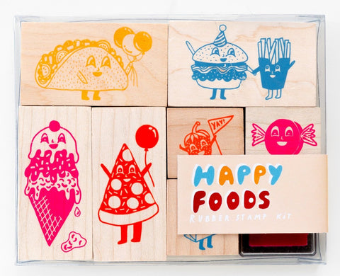 yellow owl workshop stamp kit 'happy foods'