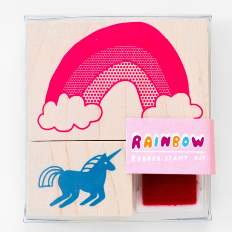 yellow owl workshop stamp kit 'unicorn & rainbow'