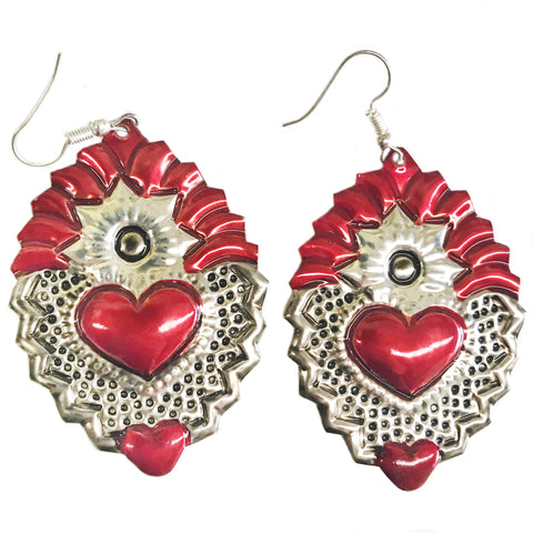 mexican earrings 'tin heart with flame' - the-tangerine-fox