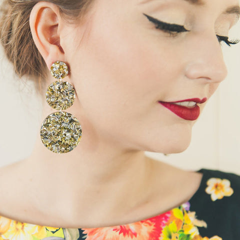 EACH TO OWN 'TRIPLE DROP' EARRINGS LUSH GOLD GLITTER