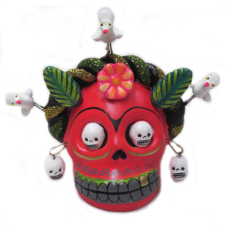 mexican clay 'day of the dead frida skull' red