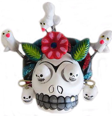 mexican wall hanging 'clay frida skull' white