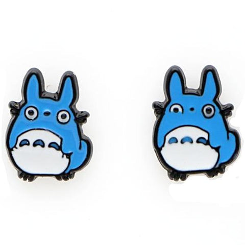 sugar earrings enamel 'totoro' blue studs - the-tangerine-fox