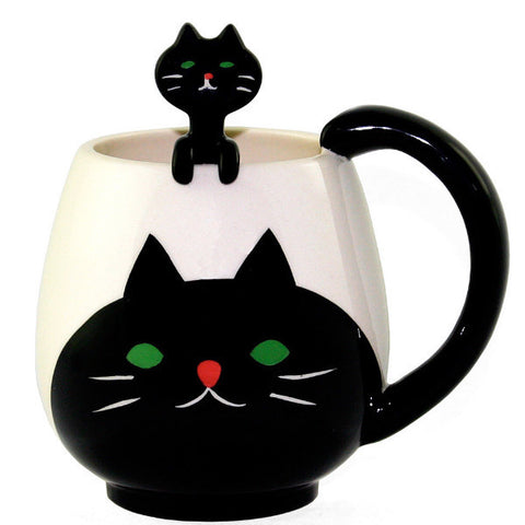 decole animal mug & spoon 'cat'