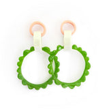 flock curiosity assembly earrings 'mega frill drops' pink & green combo