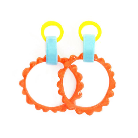 flock curiosity assembly earrings 'mega frill drops' yellow, blue & orange
