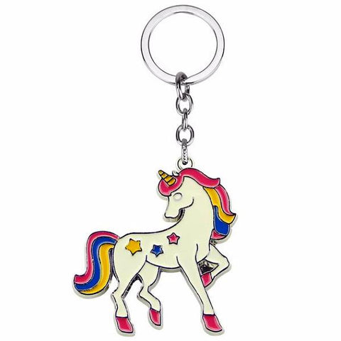 enamel key ring 'unicorn' white