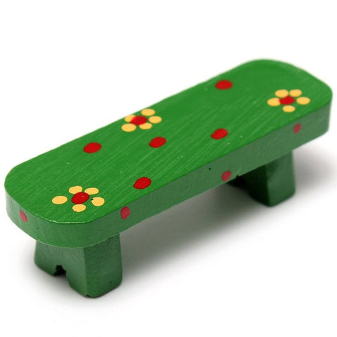 miniature 'resin bench' green floral
