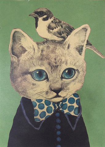 poster print 'vintage cat & little birdy bow tie' A3 - the-tangerine-fox