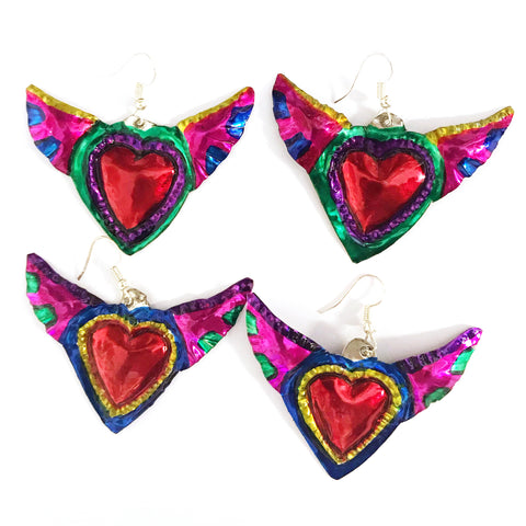 mexican earrings 'tin heart with wings'