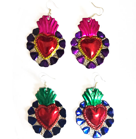 mexican earrings 'tin heart with flames'