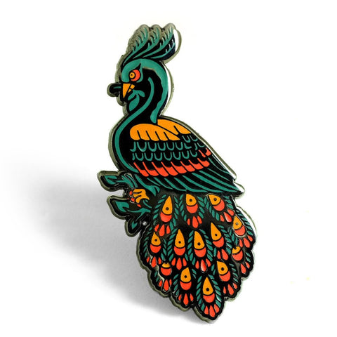 lost lust supply enamel pin 'peacock'