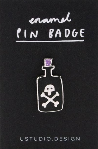 u studio enamel pin 'poison bottle'