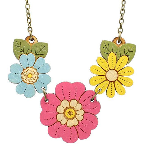 layla amber necklace 'primrose & wildflowers'
