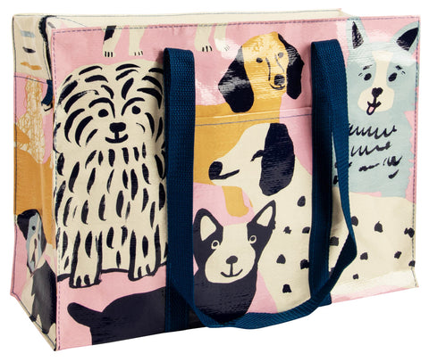 blue q shoulder tote 'happy dogs'