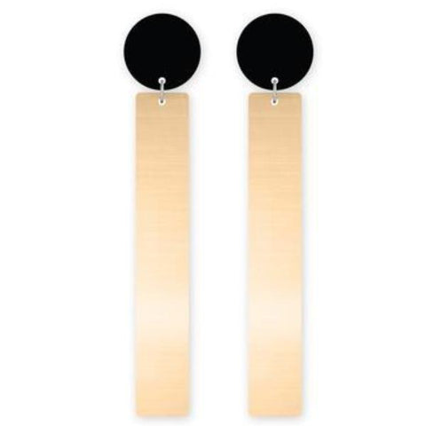 moe moe earrings 'rectangle circle stud' light gold