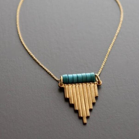 david aubrey necklace 'graduated brass & magnesite'