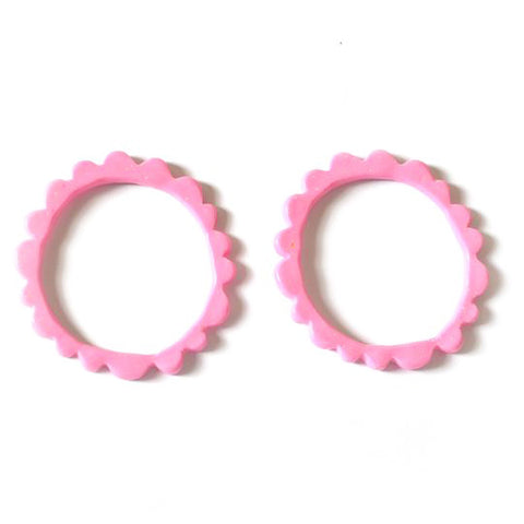 flock curiosity assembly earrings 'frill studs' barbie pink