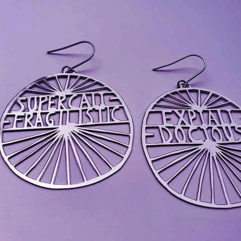 denz & co. earrings 'supercali-fragalistic-expiali-docious dangles' silver