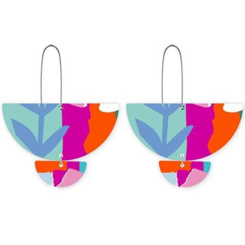 moe moe earrings 'bright leah statement long drop'