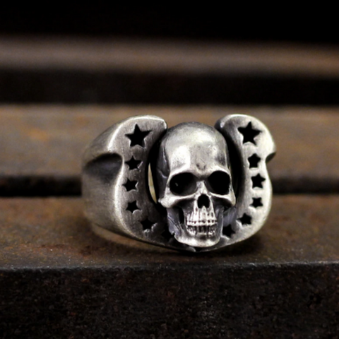 men's stainless steel ring 'skull & punk stars'