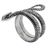 unisex stainless steel ring 'snake coil' vintage silver