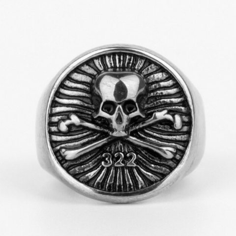 men's stainless steel signet ring 'skull & crossbones' silver