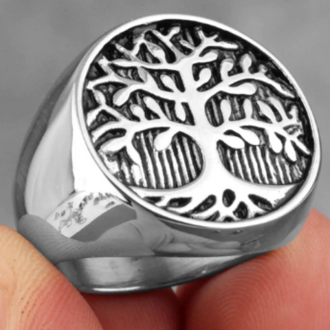 men's stainless steel signet ring 'tree of life' silver