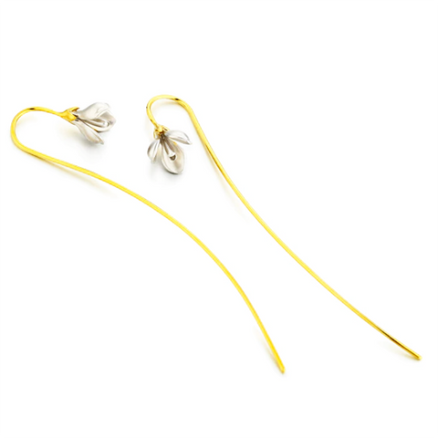 sugar earrings silver 'vintage long stem flower drops' with gold