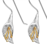 sugar earrings silver 'vintage arum lily drops' with gold