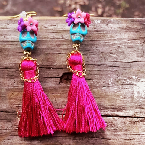 mexican earrings 'turquoise skull beads with red tassel dress'