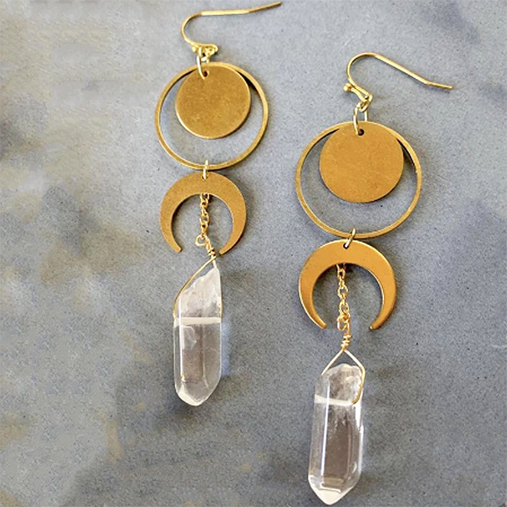 sugar earrings 'crescent moon crystal drops' gold