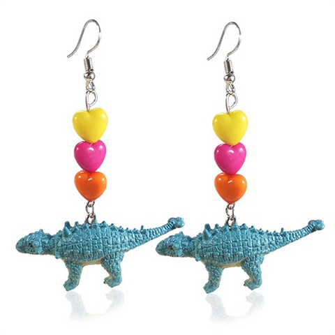 sugar earrings 'dino andrew ankliosaur dangle hearts'