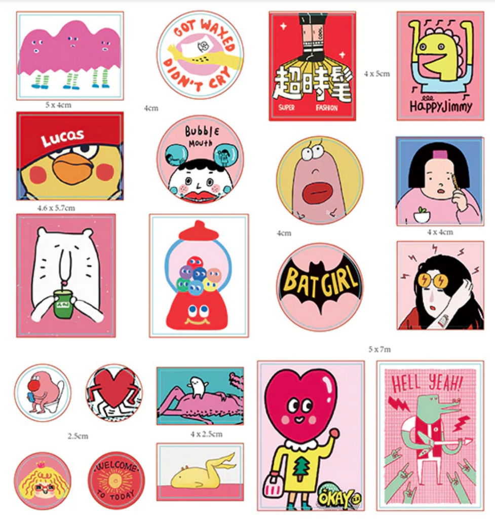 sticker pack 'kawaii mix 60' pink
