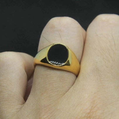 men's ring 'thin signet with black onyx' gold
