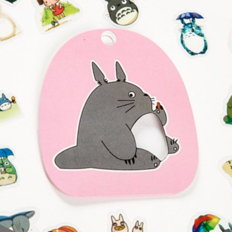 totoro stickers '60 pouch pack' pink