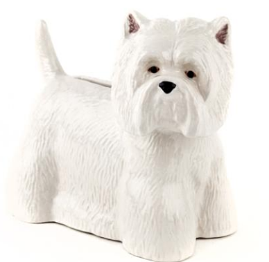 quail ceramics money box 'westie'