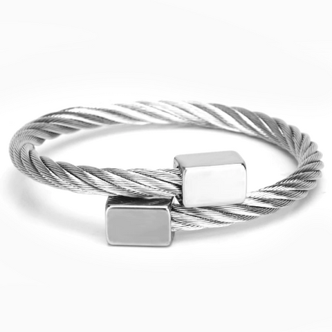 men's bracelet 'twisted roped cuff' silver