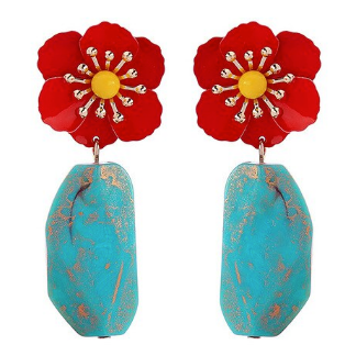 sugar earrings resin 'red flower with blue & gold flecked stone'