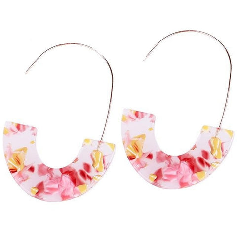 sugar earrings resin 'marbled u-drops' clear, pink & lemon - the-tangerine-fox