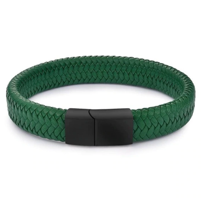 men's bracelet 'braided leather cuff' green with magnetic clasp - the-tangerine-fox