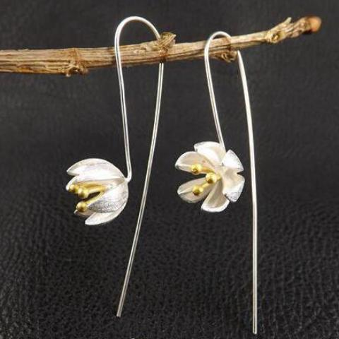 sugar earrings 'lotus flower drop' silver & gold