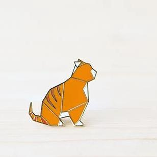 hug a porcupine brooch 'origami tabby cat' orange