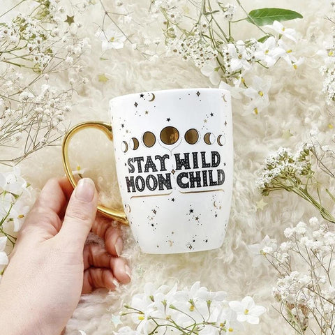 the quirky cup collective mug 'stay wild moon child mug' white