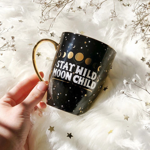 the quirky cup collective mug 'stay wild moon child' black