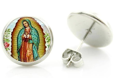 sugar earrings 'lady of guadalupe' glass dome studs