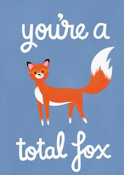 the cardy club greeting card 'you're a total fox'