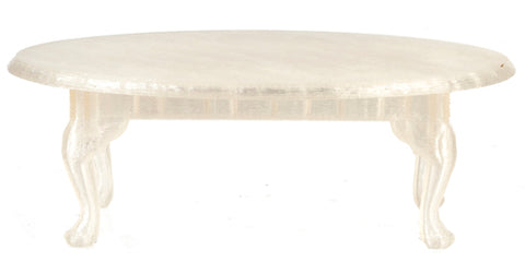 miniature coffee table 'queen anne oval' clear