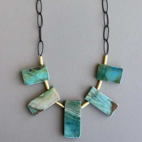 david aubrey necklace 'agate & brass'