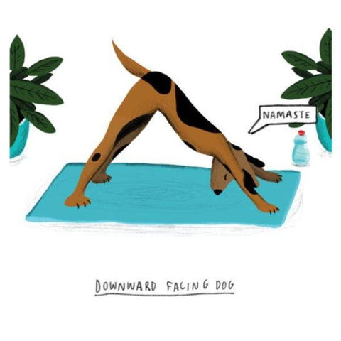 u studio greeting card 'downward facing dog' - the-tangerine-fox